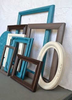 Teal Grey Brown Heirloom White Frames with GLASS set by BeautiSHE, $88.00