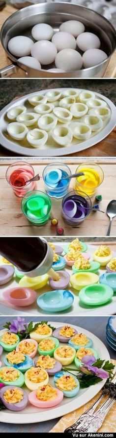 Funny pictures about Colorful deviled eggs. Oh, and cool pics about Colorful deviled eggs. Also, Colorful deviled eggs. Colored Deviled Eggs, Easter Deviled Eggs, Deviled Eggs Recipe, Colored Eggs, Ostern Party, Diy Ostern, Easter Recipes, Brunch Recipes, Appetizer Recipes