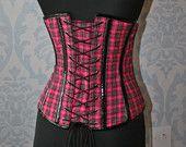 """Vintage Pink & Black Plaid Tartan Underbust Steel Boned Burlesk Corset  24"""" Waist"""