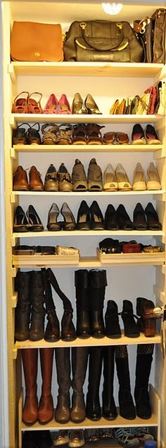 Great shoe and bag organization for small closet