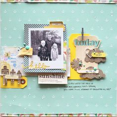 Lots of little elements that are working fabulously well together.  The eys just moves across the middle of this layout.  Love the corrugated cardboard embellishments.  Sadly not a great link....is this created by Adrienne Alvis?