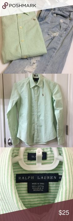LOWEST PRICE Ralph Lauren slim fit button down EUC Polo Ralph Lauren 'slim fit' striped Oxford. Great for work or dressed down with boyfriend jeans and slips ons for a weekend brunch with friends. Colors are tea green and white. Photo 3 best representation of true color. 100% cotton. Length: 22.5 in. Bust: 34 in. No stains or holes. Darting on back because it is slim fit. Please see Size Guide 1 listing for best fit reference. Photographed un-pressed. Ralph Lauren Tops Button Down Shirts