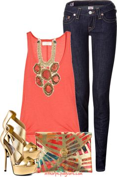 coral & gold