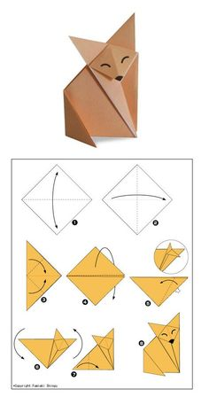 DIY by M.: printable pour le petit prince Pluslittle prince fox origami - party craft ideaPlaying and Crafting: How to Make Fox - Origami Pretty clear visual on folding this cute guy.Origami fox - the instructions aren't in English, but the diagram i Origami Design, Instruções Origami, Origami And Kirigami, Paper Crafts Origami, Paper Crafting, Origami Bookmark, Origami Hearts, Dollar Origami, Origami Flowers