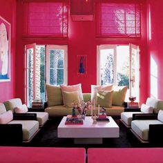 Pink living room, salon, sofa, cozy, color