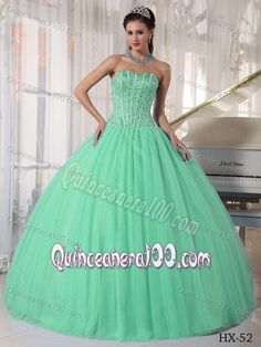 Beading Apple Green Strapless Quinceanera Dresses with Pleats