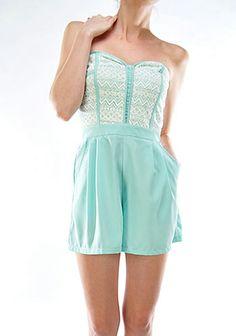 Sweet Talker Lace Bustier Sweetheart Romper in Mint  $37.99