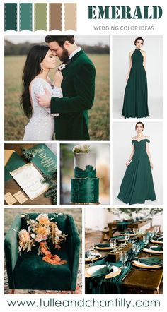 emerald fall wedding color inspiration with bridesmaid dresses 2019 wedding colors Emerald Wedding Colors, Fall Wedding Colors, Wedding Color Schemes, Popular Wedding Colors, Emerald Green Weddings, Space Wedding, Dream Wedding, Wedding Venue Inspiration, Wedding Ideas