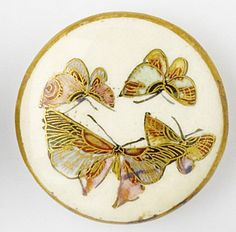 1800s Japanese satsuma butterfly button.