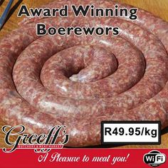 Our great specials for the week include Award Winning Boerewors at only Visit Greeff's Butchery Cafe for more great specials. Sausage, Meat, Food, Sausages, Essen, Yemek, Meals