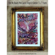 Feel My #Beauty #Pink #Cancer #Angel #painting is a multi media combination of acrylic, and glitter on canvas. Soft pinks with yellow and blue accents frame the pink cancer angel. Hearts float throughout the painting reinforcing the message of love and
