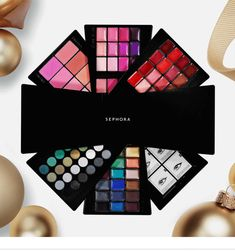 A festive, dazzling makeup palette with 130 colors for the eyes, lips, and cheeks.