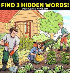 Find 3 Hidden Words Can you find the three hidden words in the above picture The above picture depicts a farm side day of work in their vegetable garden. Share with your family and friends and see if they can find the 3 hidden words. Tricky Riddles, Funny Riddles, Jokes And Riddles, Hidden Words In Pictures, Hidden Picture Puzzles, Picture Puzzles Brain Teasers, Brain Teasers Riddles, Funny Illusions, Cool Optical Illusions