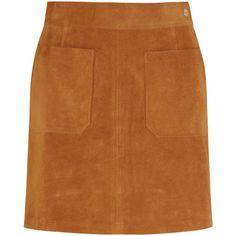 Frame Denim Le High suede mini skirt ($945) ❤ liked on Polyvore featuring skirts, mini skirts, frame denim, brown, short a line skirt, suede skirt, a line mini skirt, mini skirt and suede a line mini skirt