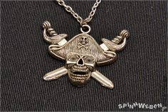 Pirate Necklace  pendant link chain silver filigree by SpinnWeben, €12.00