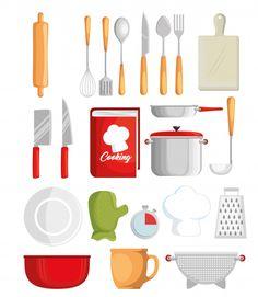 Conjunto de ícones de utensílios de cozinha vector design ilustração Vetor Premium Journal Stickers, Plastic Cutting Board, Cooking, Kitchen, Design, Icon Set, Vector Graphics, Diy Kitchen Appliances, Kochen