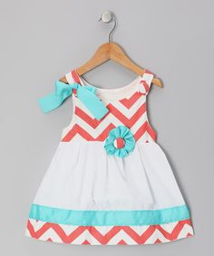 Coral & White Zigzag Lucy Mae Dress - Infant & Toddler | Daily deals for moms, babies and kids