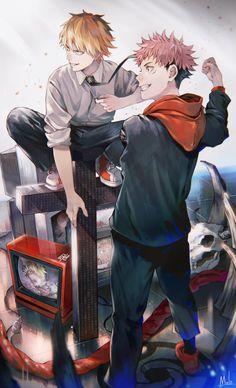 Jujutsu Kaisen • Chainsaw Man • Crossover M Anime, Chica Anime Manga, Anime Boys, Anime Art, Super Anime, Another Anime, Anime Crossover, Anime Style, Animes Wallpapers