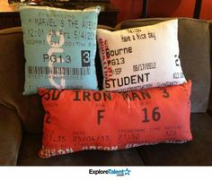 Ticket stub pillows. Great idea to preserve a memory. Hopefully I can find some of my old concert stubs.