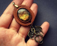 Fantasy dragon pendant with labradorite   by Gemsplusleather