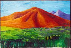 David Hockney, Red Mountain -- I made a  shibori dyed fiber piece based on this painting.