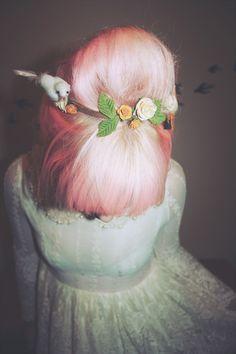Pastel Pink Dyed Hair Beehive Fringe