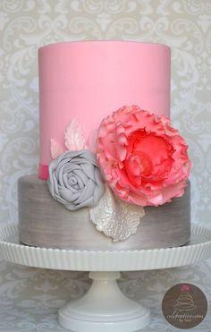 Shades of Pinks and Greys - by CelebrationCakes @ CakesDecor.com - cake decorating website