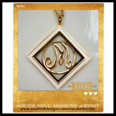 NEW monogram screen with one of our diamond shaped lockets...beautiful! www.southhilldesigns.com/marybethcrider