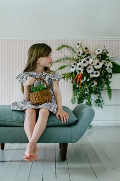 Soor Ploom SS15 : Kirsten Rickert | robin's egg blue seat with little girl, Easter basket + floral bouquet