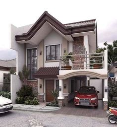 Modern house exterior design reflects the entire style of the space and the tradition as well Two Story House Design, 2 Storey House Design, Duplex House Design, Two Storey House, House Front Design, Small House Design, Modern Exterior House Designs, House Paint Exterior, Dream House Exterior