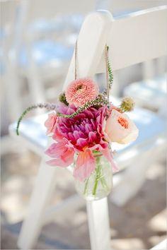 colorful flowers in a jar for the wedding aisle decor Wedding Ceremony Ideas, Wedding Aisles, Wedding Jars, Wedding Aisle Decorations, Wedding Bouquets, Wedding Flowers, Church Wedding, Aisle Flowers, Wedding Backdrops