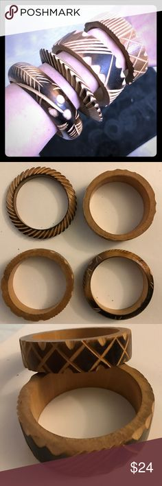 Hand carved Wooden bracelets Set of four, hand carved. Great condition.! Makes cool musical wood sound when they bump against each other with your movement. Jewelry Bracelets
