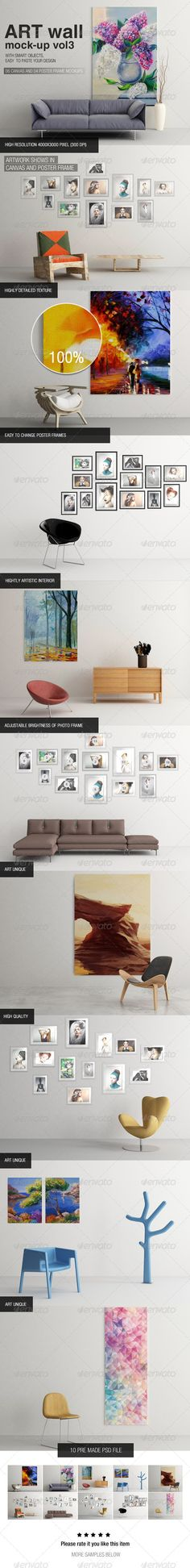Art Wall Mock-up Vol.3  10 Pre made psd file Hightly artistic interior High resolution 4000×3000 pixel (300dpi) Artwork shows in canvas and poster frames Easy to change canvas and poster frames Adjustable brightness of photo frame Highly detailed texture High quality photo frames