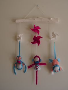 decoration for children room, made of wood and felt - monkeys made by U.Karasiewicz