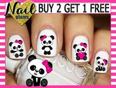 Girls Nail Designs, Simple Nail Art Designs, Cute Nail Designs, Bow Nail Art, Easy Nail Art, Cute Acrylic Nails, Cute Nails, Panda Nail Art, Light Nail Polish