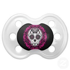 Girly day of the dead sugar skull baby pacifier. #day_of_the_dead #baby…