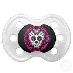 Girly day of the dead sugar skull baby pacifier. #day_of_the_dead #baby #pacifier #sugar_skull #dia_de_los_muertos