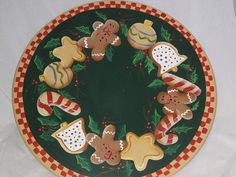 Items similar to Hand Painted Lazy Susan with Gingerbread and Christmas Cookies on Etsy Pottery Painting, Tole Painting, Painting On Wood, Christmas Candy, Christmas Cookies, Christmas Ornaments, Painted Plates, Hand Painted, Christmas Tree Skirts Patterns
