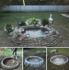How to build a pond from an old truck tire