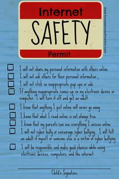Kid's Internet Safety Family Home Evening - FREE Printable! - Housewives of Riverton Family Safety, Home Safety, Safety Tips, Child Safety, Safety Checklist, Family Home Evening, Family Night, Home And Family, Family Kids