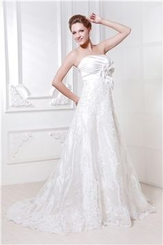 Gorgeous A-line Strapless Court Train Lace Ela's Wedding Dress EF83789