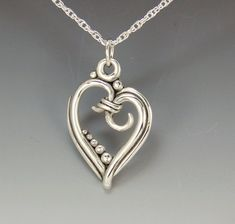 Sterling Silver Heart Pendant on 18 Inch Sterling Chain, Handmade One of a Kind Artisan Pendant Silver Necklaces, Sterling Silver Pendants, Silver Rings, Etsy Jewelry, Unique Jewelry, Denim And Diamonds, Stone Necklace, Artisan Jewelry, Diamond Jewelry