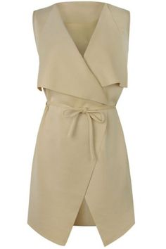 Stylish V-Neck Sleeveless Solid Color Self Tie Women's Waistcoat