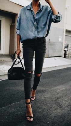 chambray shirt, black jeans, and heels