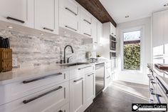 Cuisines Cartier, Design l Quality l Service, Custom Kitchen Cabinets, Call Us For A Free Estimate Basement Kitchen, New Kitchen, Kitchen Dining, Kitchen Decor, Sweet Home, White Kitchen Cabinets, Upper Cabinets, Bathroom Interior Design, Plank