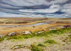 Roger Turner Art - Moody Morning at Chesil Beach - Artists & Illustrators - Original art for sale direct from the artist Beach Watercolor, Pastel Watercolor, Watercolour Painting, Dorset Coast, Pastel Paper, Pastel Pencils, Beach Road, Pebble Beach