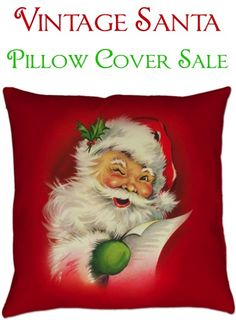 These Vintage Santa Christmas Pillow Covers are such a fun way to add some whimsical holiday decor to your home!