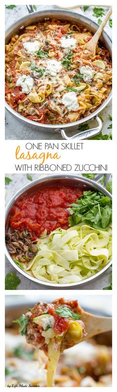 One pan skillet lasagna with ribbon zucchini zoodels