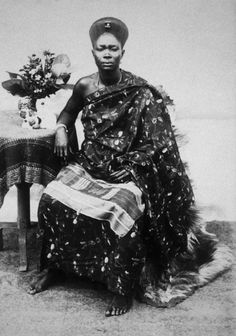 "Africa | ""Wife of the King of Accra."" Gold Coast / Ghana. c. prior to 1917 