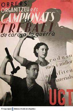 Obrers: organitzeu els campionats de treball de cara a la guerra :: Cartells del Pavelló de la República (Universitat de Barcelona)